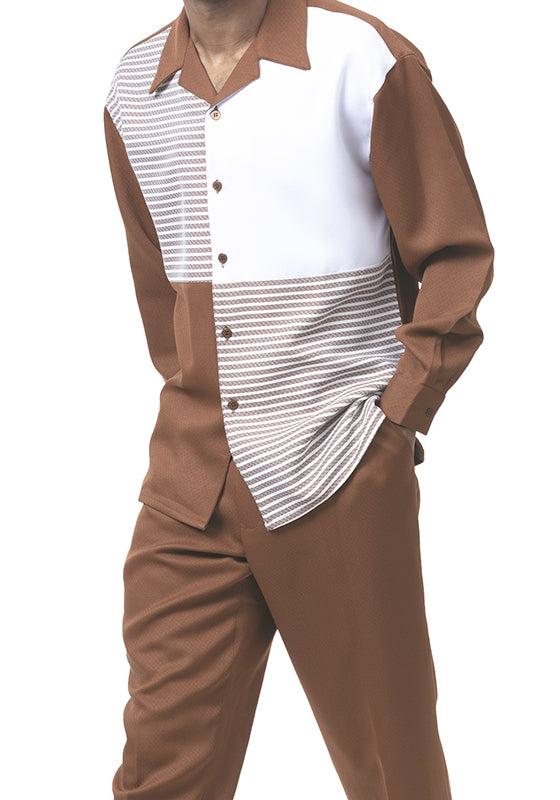 Long Sleeve Contrast Stripe 2 Piece Walking Suit in Bronze - SUITS FOR MENS