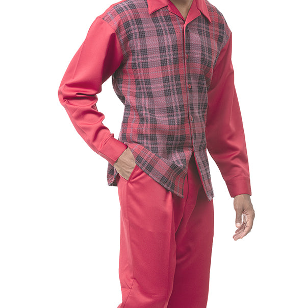2 Piece Long Sleeve Check Pattern Walking Suit in Brick