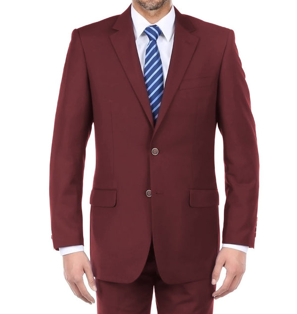 Vanderbilt Collection - Classic 2 Piece Suit 2 Buttons Regular Fit In Burgundy - SUITS FOR MENS
