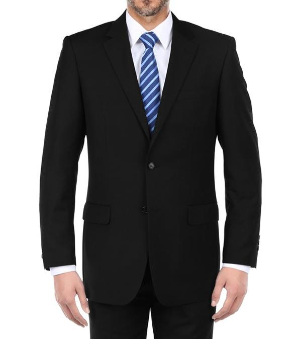 Vanderbilt Collection - Classic 2 Piece Suit 2 Buttons Regular Fit In Black