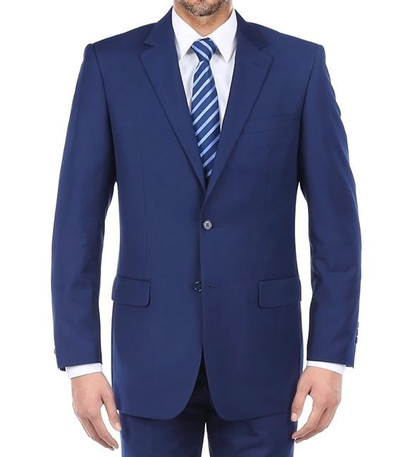 Vanderbilt Collection  - Classic 2 Piece Suit 2 Buttons Regular Fit In Blue