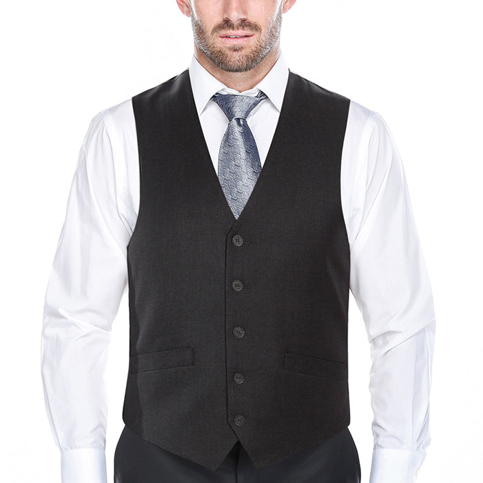 Classic Dress Vest 5 Buttons Regular Fit In Charcoal - SUITS FOR MENS