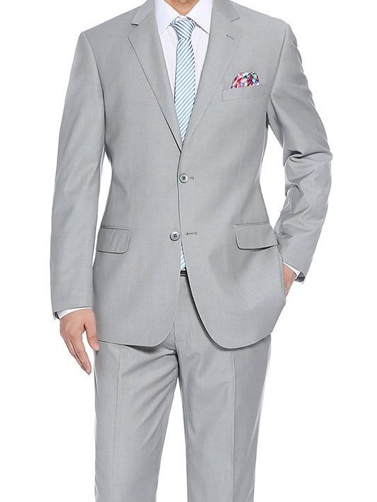Regular Fit 2 Piece 2 Button In Light Gray