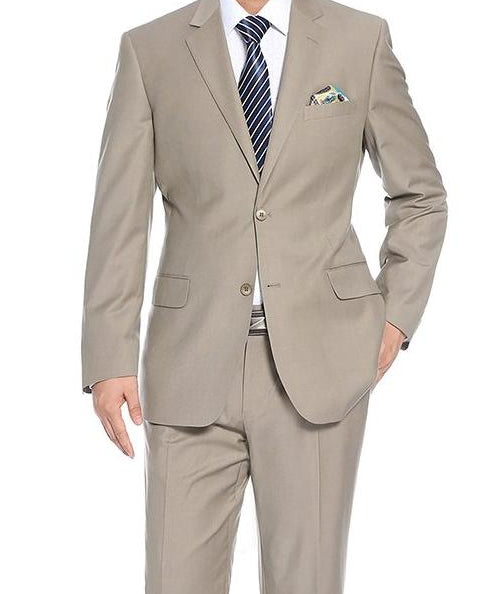 Regular Fit 2 Piece 2 Button In Light Beige