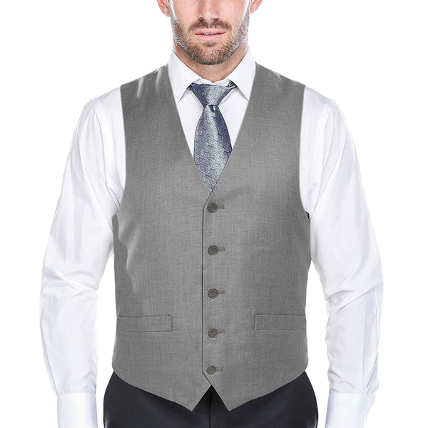 Classic Dress Vest 5 Buttons Regular Fit In Gray - SUITS FOR MENS