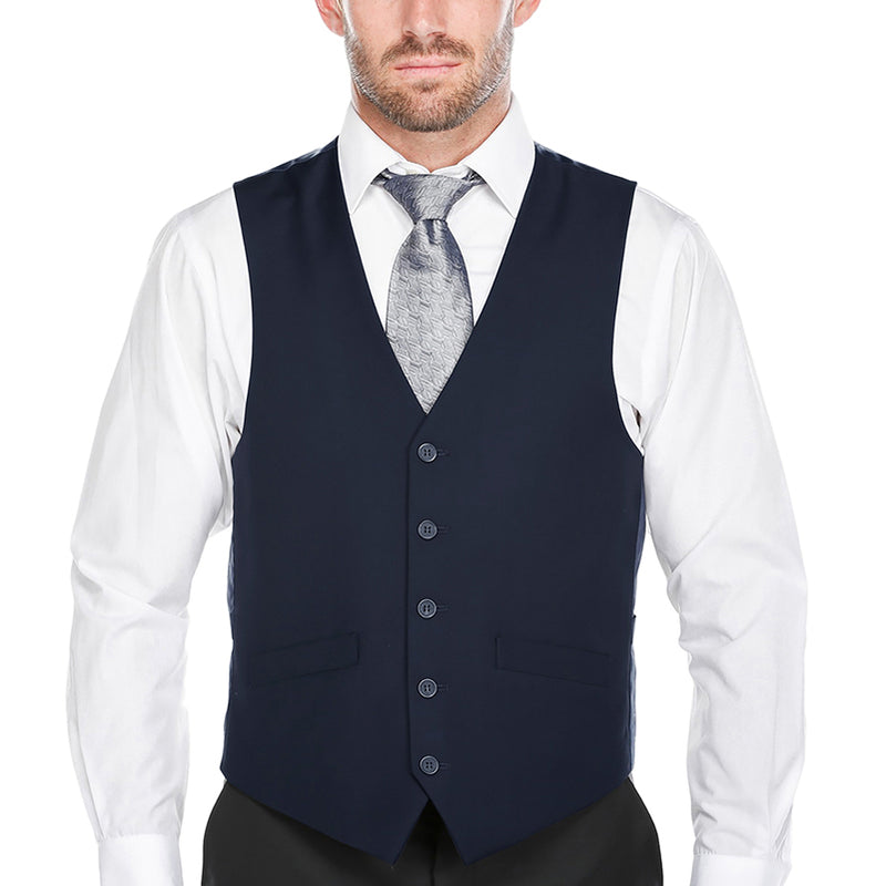 Classic Dress Vest 5 Buttons Regular Fit In Navy - SUITS FOR MENS