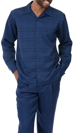 Navy Tone on Tone 2 Piece Long Sleeve Men's Walking Suit
