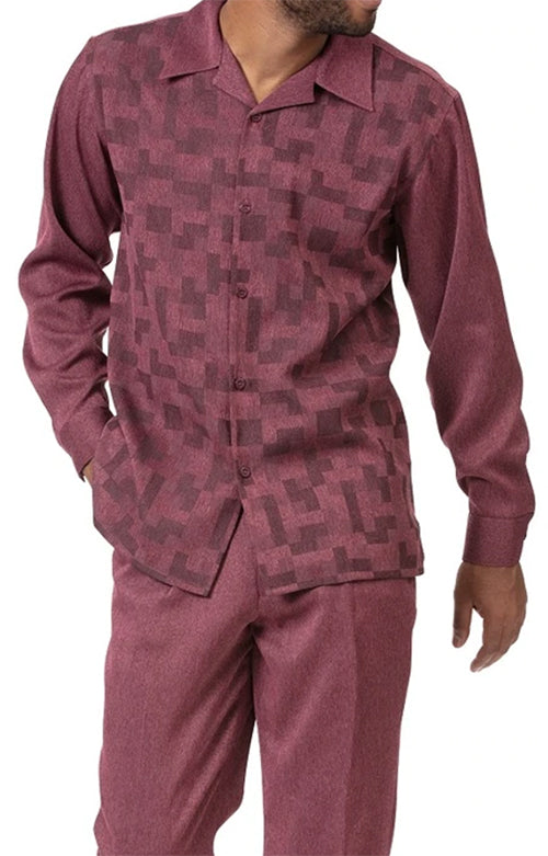 Burgundy Tone on Tone 2 Piece Long Sleeve Men's Walking Suit