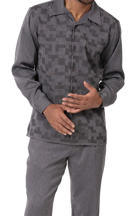 Charcoal Tone on Tone 2 Piece Long Sleeve Men's Walking Suit