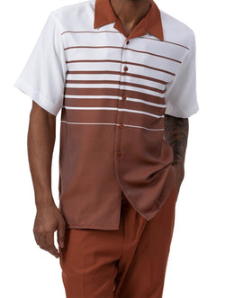 Cognac Contrast Stripe 2 Piece Short Sleeve Men's Summer Walking Suit