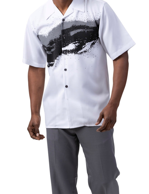 Gray Splash Design 2 Piece Short Sleeve Men's Summer Walking Suit