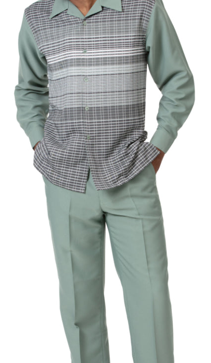 Green Striped Detail 2 Piece Long Sleeve Men's Walking Suit