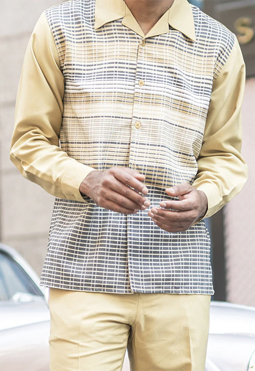Mustard Striped Detail 2 Piece Long Sleeve Men's Walking Suit