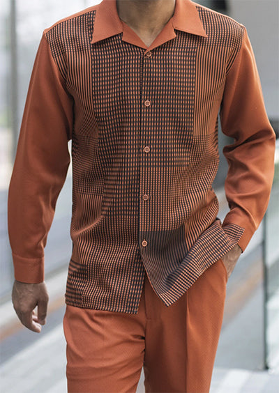 Cognac Check Plaid Pattern 2 Piece Long Sleeve Men's Walking Suit