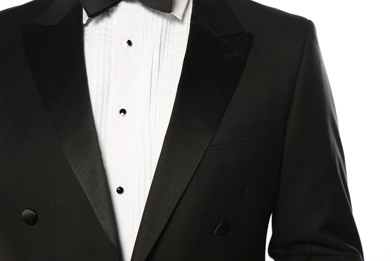 Classic Full Dress Tuxedo Tails 2 Piece Regular Fit In Black - SUITS FOR MENS