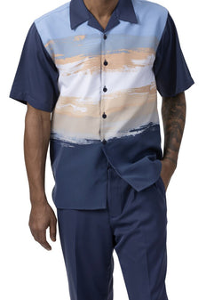 Navy Brush Paint Print Men's 2 Piece Walking Suit Summer Short Sleeves