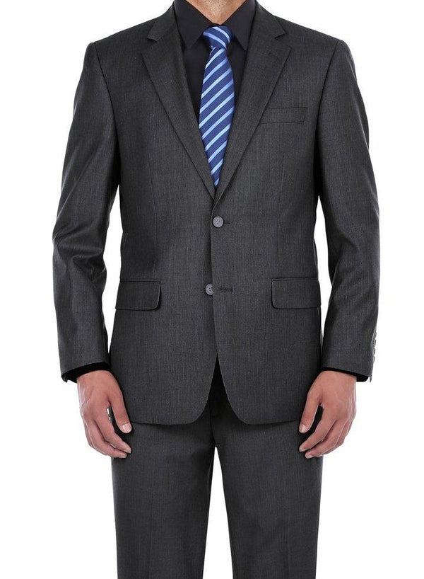 Vanderbilt Collection  - Classic 2 Piece Suit 2 Buttons Regular Fit In Charcoal Gray