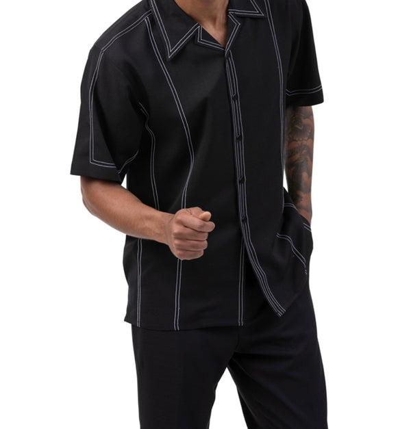 Black Stripe 2 Piece Short Sleeve Men's Summer Walking Suit
