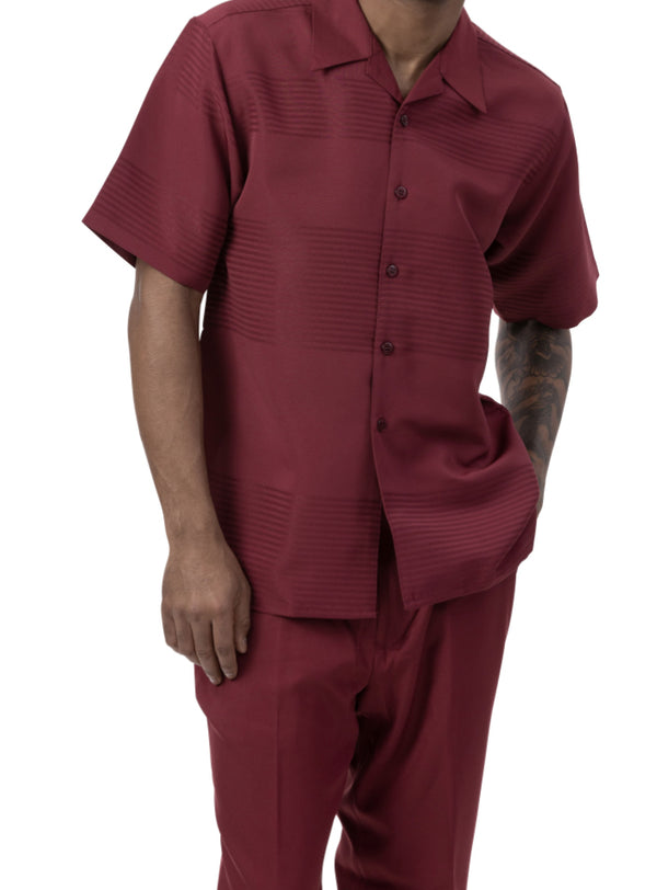Burgundy Tone on Tone Stripe 2 Piece Short Sleeve Men's Summer Walking Suit