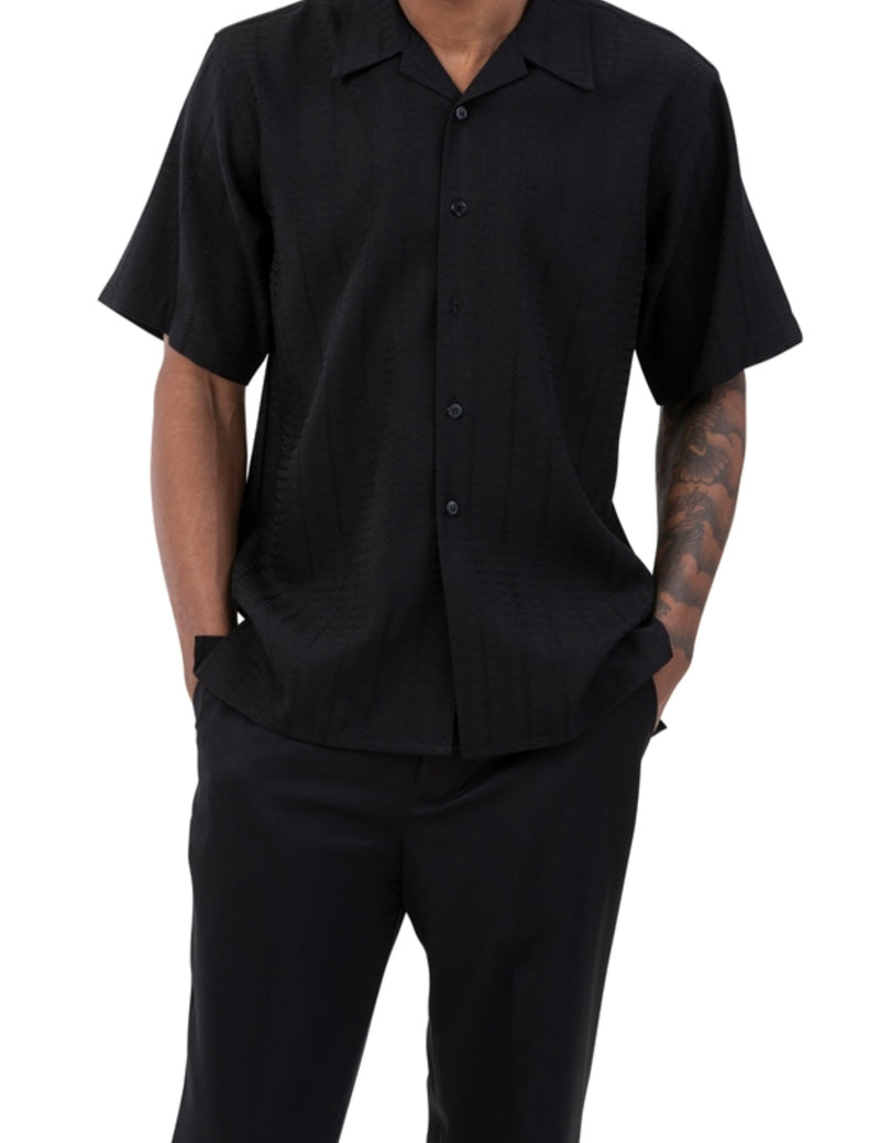 Black Tone on Tone Check 2 Piece Short Sleeve Men's Summer Walking Suit
