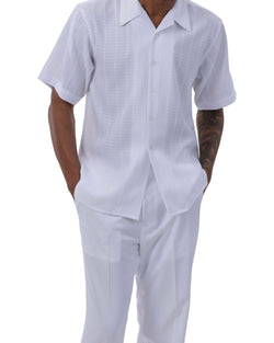 White Tone on Tone Check 2 Piece Short Sleeve Men's Summer Walking Suit