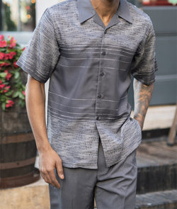 Gray Striped Detail 2 Piece Walking Suit Summer Short Sleeves