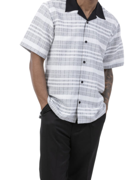 Black Striped 2 Piece Walking Suit Summer Short Sleeves
