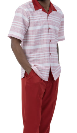 Red Striped 2 Piece Walking Suit Summer Short Sleeves