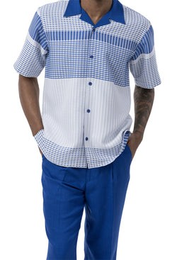 Royal Striped Pattern 2 Piece Short Sleeve Men's Summer Walking Suit