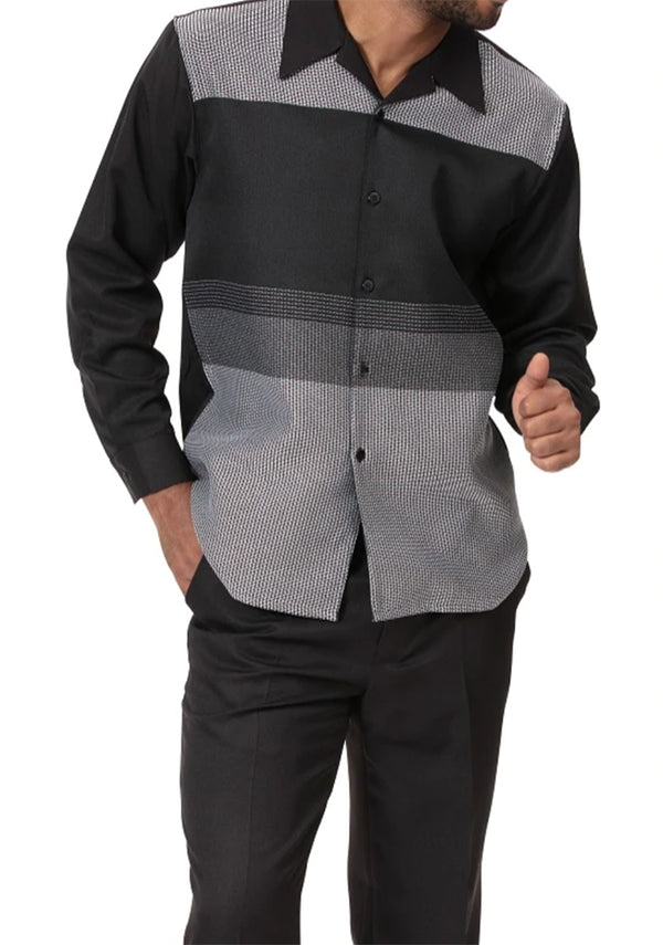 Black/Gray Contrast Detail 2 Piece Long Sleeve Men's Walking Suit