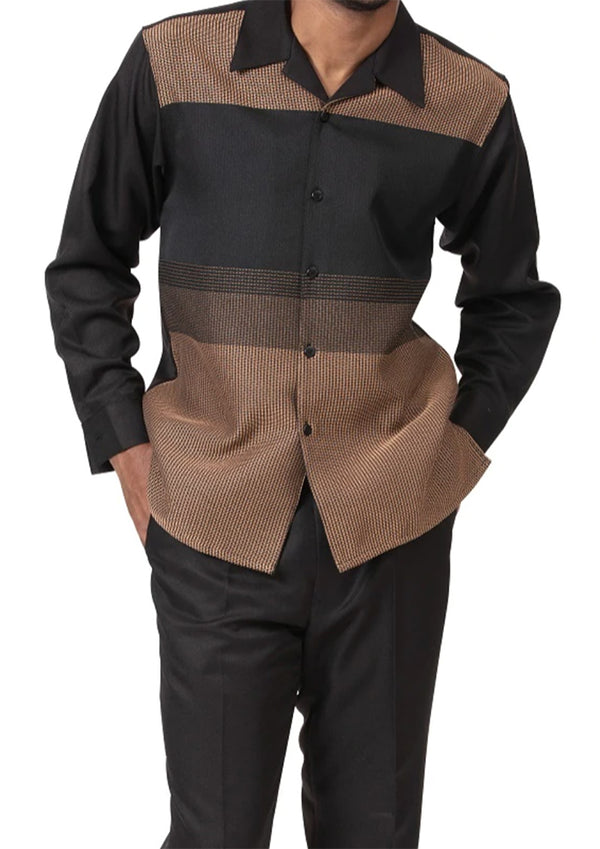 Black/Tan Contrast Detail 2 Piece Long Sleeve Men's Walking Suit