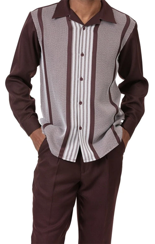 Brown Horizontal Stripe 2 Piece Long Sleeve Men's Walking Suit