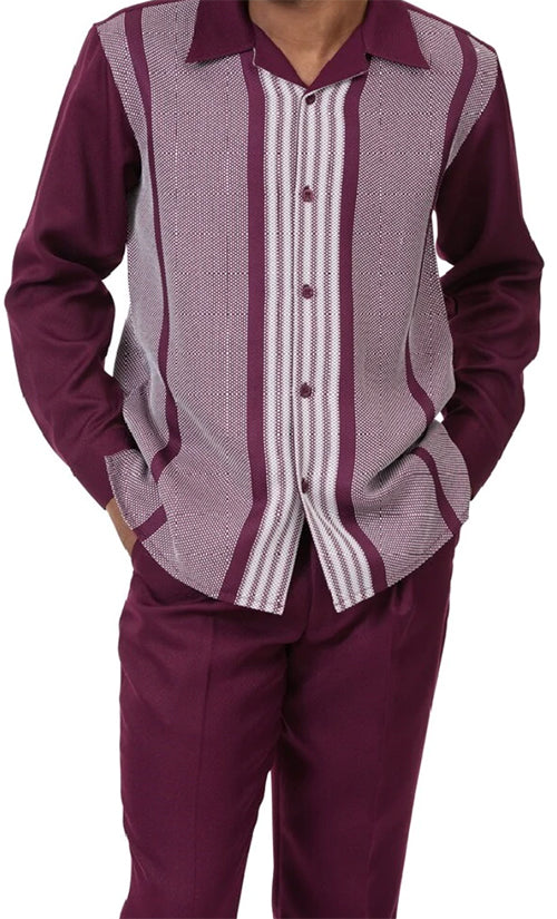 Burgundy Horizontal Stripe 2 Piece Long Sleeve Men's Walking Suit