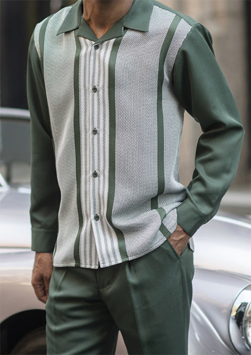 Green Horizontal Stripe 2 Piece Long Sleeve Men's Walking Suit