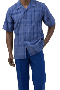Royal Blue Check Pattern 2 Piece Short Sleeve Men's Summer Walking Suit