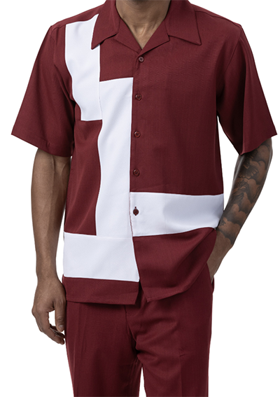 Burgundy 2 Piece Short Sleeve Men's Summer Walking Suit Block Contrast Design