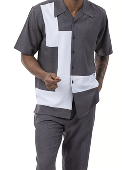 Gray 2 Piece Short Sleeve Men's Summer Walking Suit Block Contrast Design