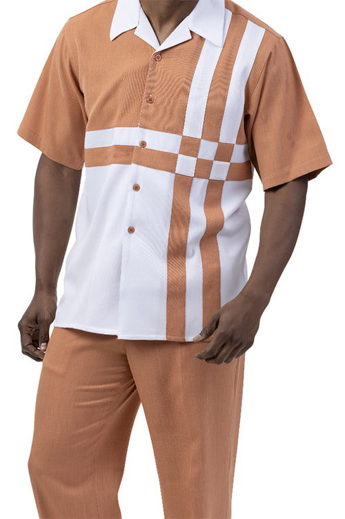 Apricot 2 Piece Contrast Striped Short Sleeve Summer Walking Suit