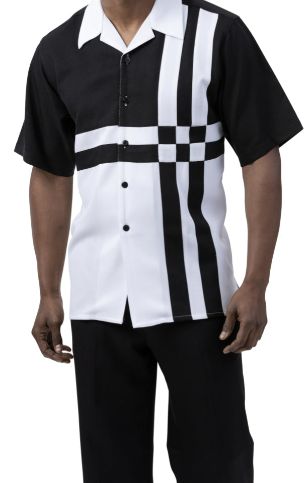 Black 2 Piece Contrast Striped Short Sleeve Summer Walking Suit