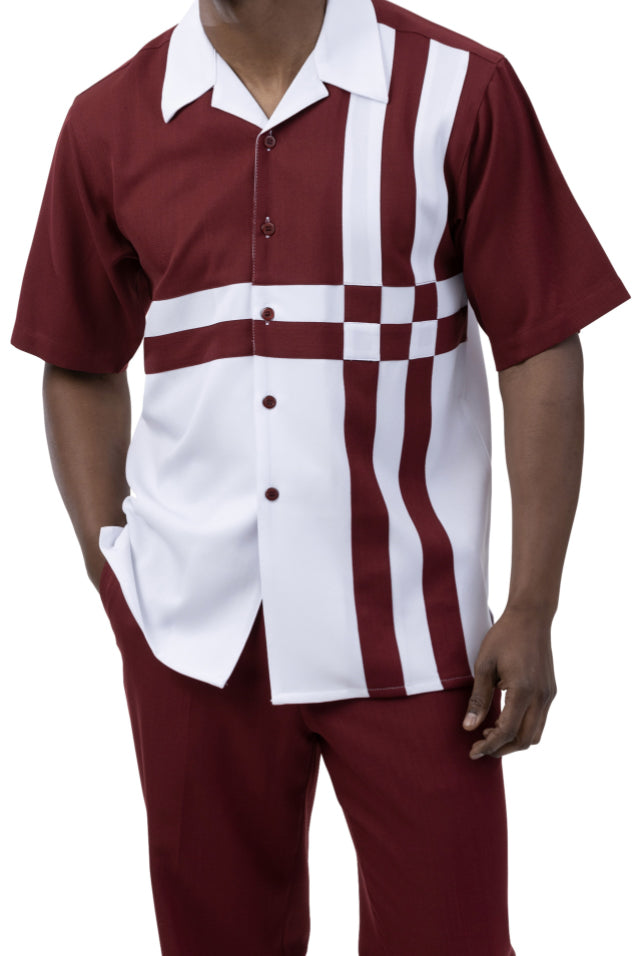 Burgundy 2 Piece Contrast Striped Short Sleeve Summer Walking Suit