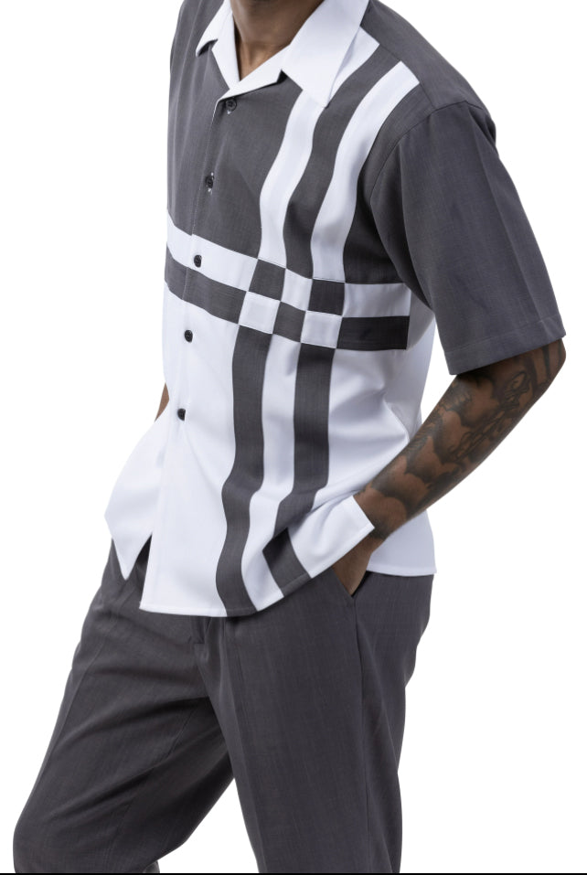 Gray 2 Piece Contrast Striped Short Sleeve Summer Walking Suit