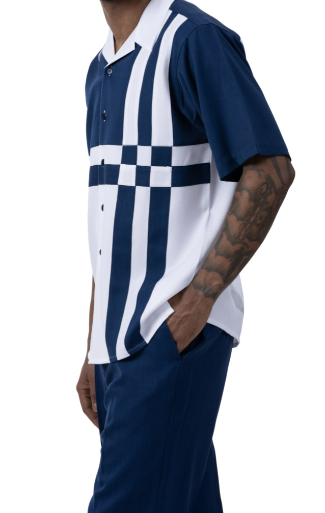 Navy 2 Piece Contrast Striped Short Sleeve Summer Walking Suit