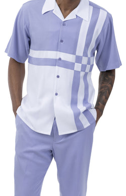 Lavender 2 Piece Contrast Striped Short Sleeve Summer Walking Suit