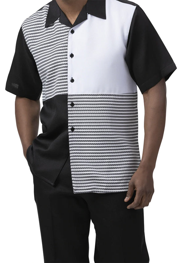 Black Contrast Stripe Men's 2 Piece Walking Suit Summer Short Sleeves