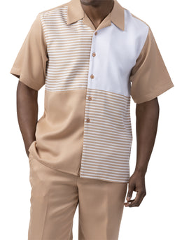 Tan Contrast Stripe Men's 2 Piece Walking Suit Summer Short Sleeves