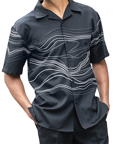 Black Wave Design 2 Piece Short Sleeve Men's Summer Walking Suit