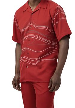 Red Wave Design 2 Piece Short Sleeve Men's Summer Walking Suit