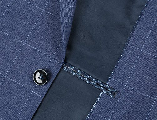 Slim Fit 2 Piece Windowpane Suit 2 Button In Blue