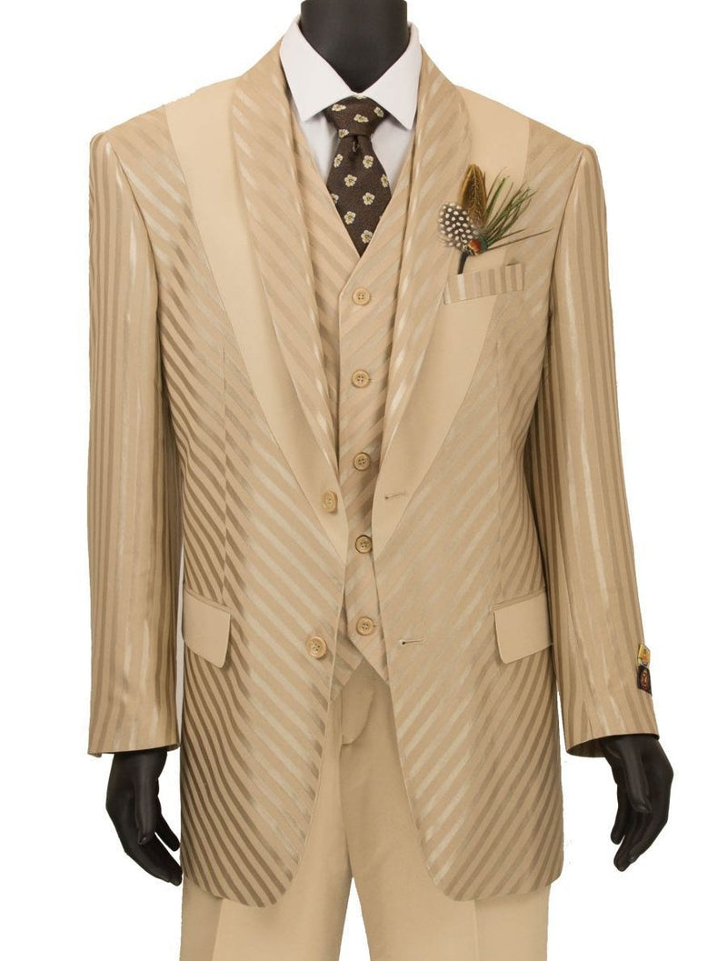 Tuscany Collection - 3 Piece Slim Fit Party/Wedding Shiny Stripe Suit in Almond - SUITS FOR MENS