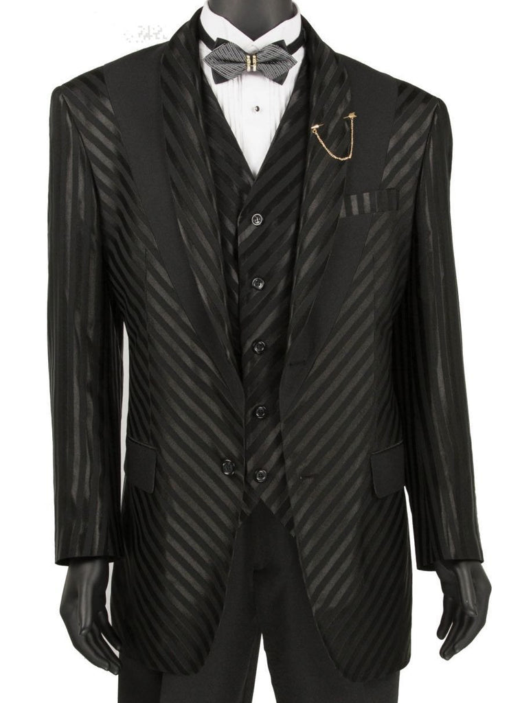 Shiny Stripe Collection - 3 Piece Slim Fit Party/Wedding Suit in Black - SUITS OUTLETS